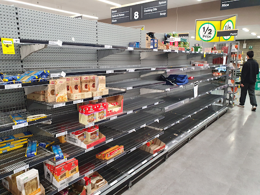Empty pasta shelves in a supermarket at the beginning of the COVID crisis in March 2020.
