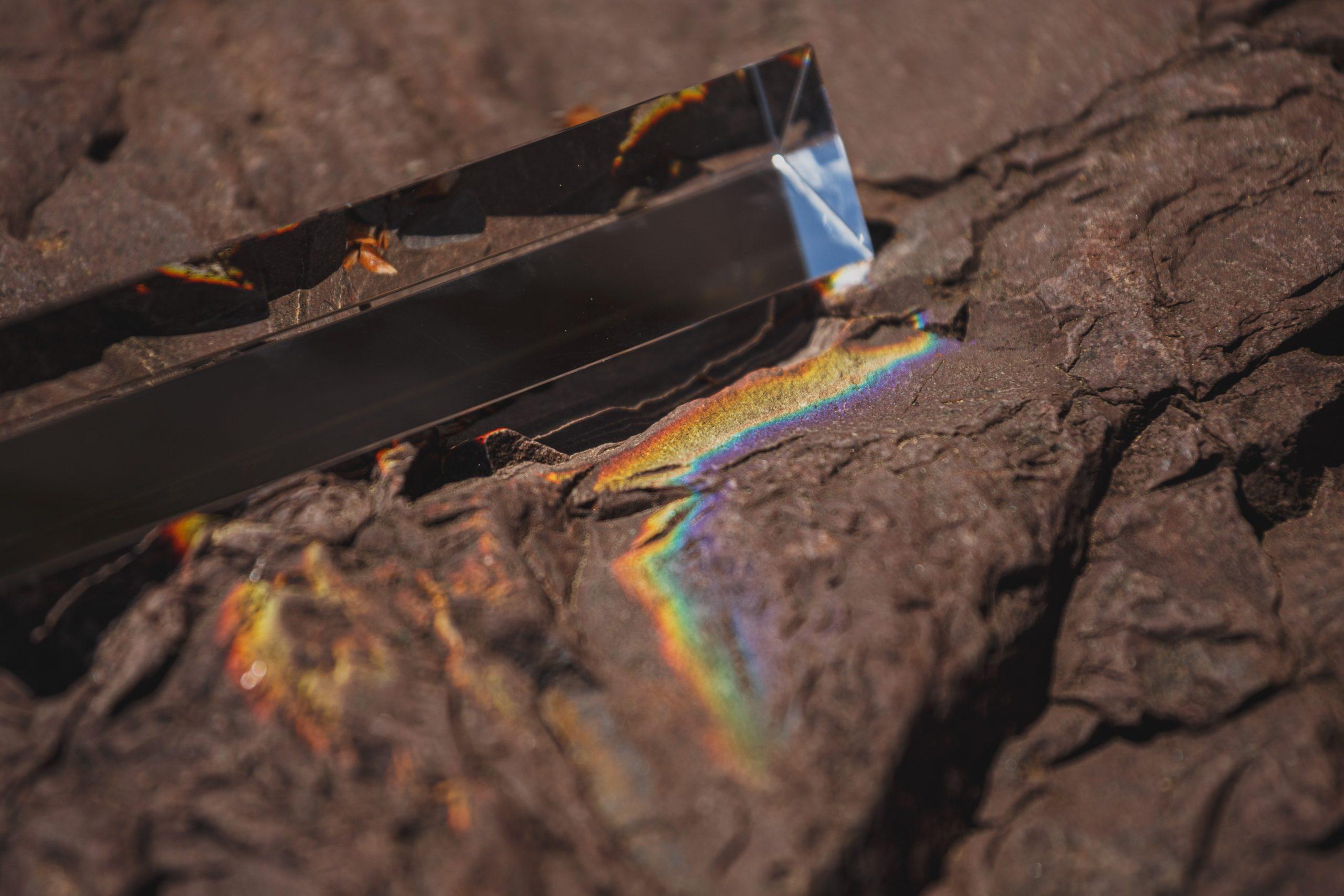 Light prism off of rocks